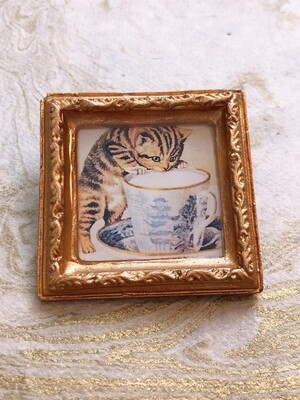 frame brooch (kitten with a cup)