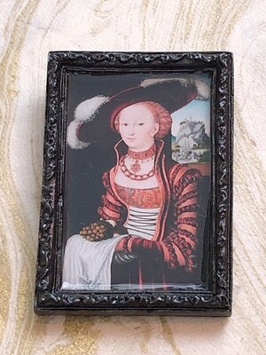 frame brooch (woman with fruit)