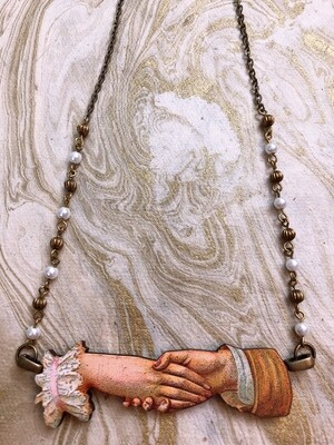 wood necklace (the handshake)