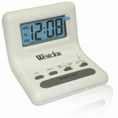 Westclox Celebrity Glo-Clox White Compact Travel Alarm Clock 47539