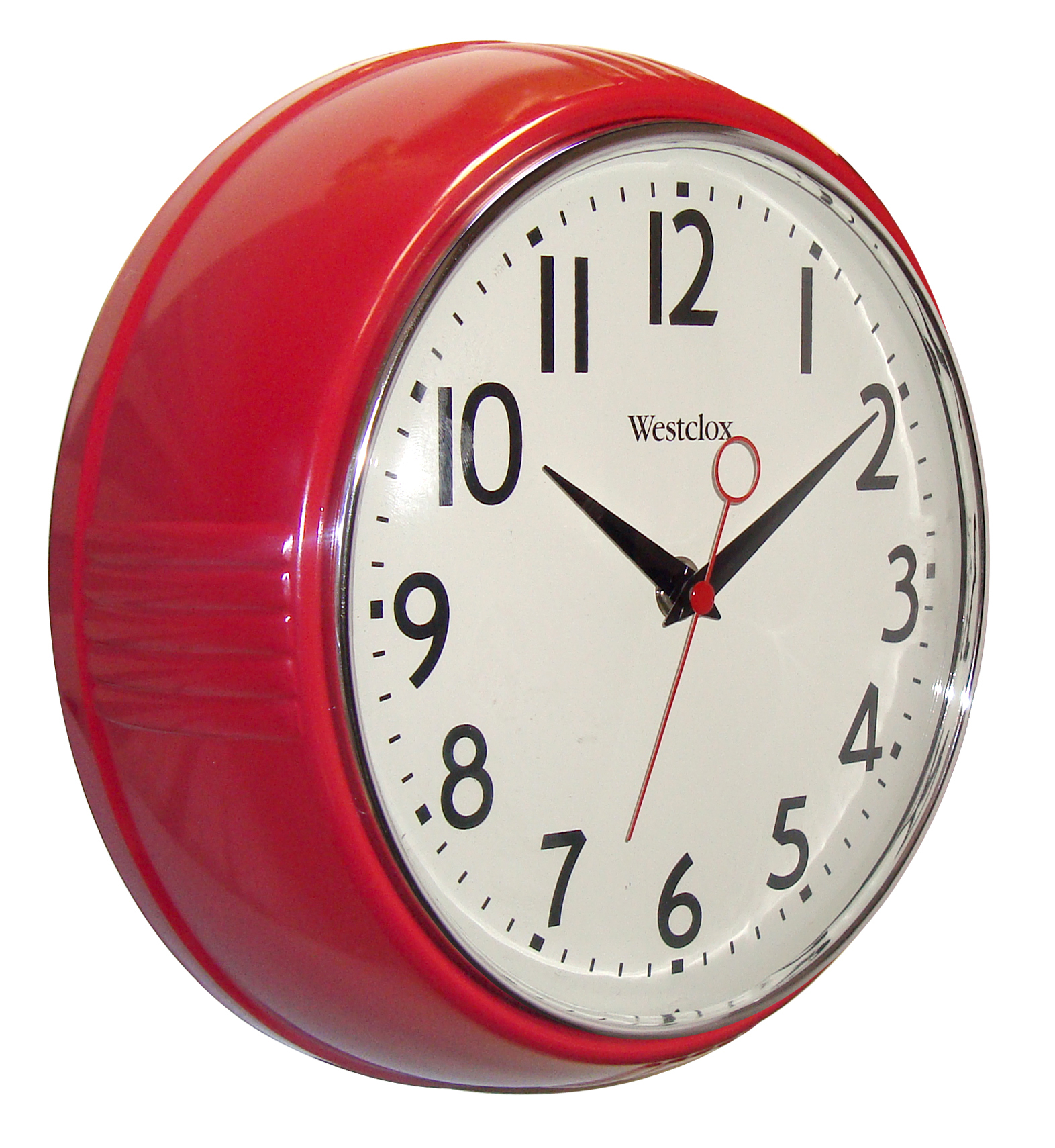 "Westclox 1950 Retro 9.5"" Extra Thick Round Wall Clock Red 32042R 32042R"