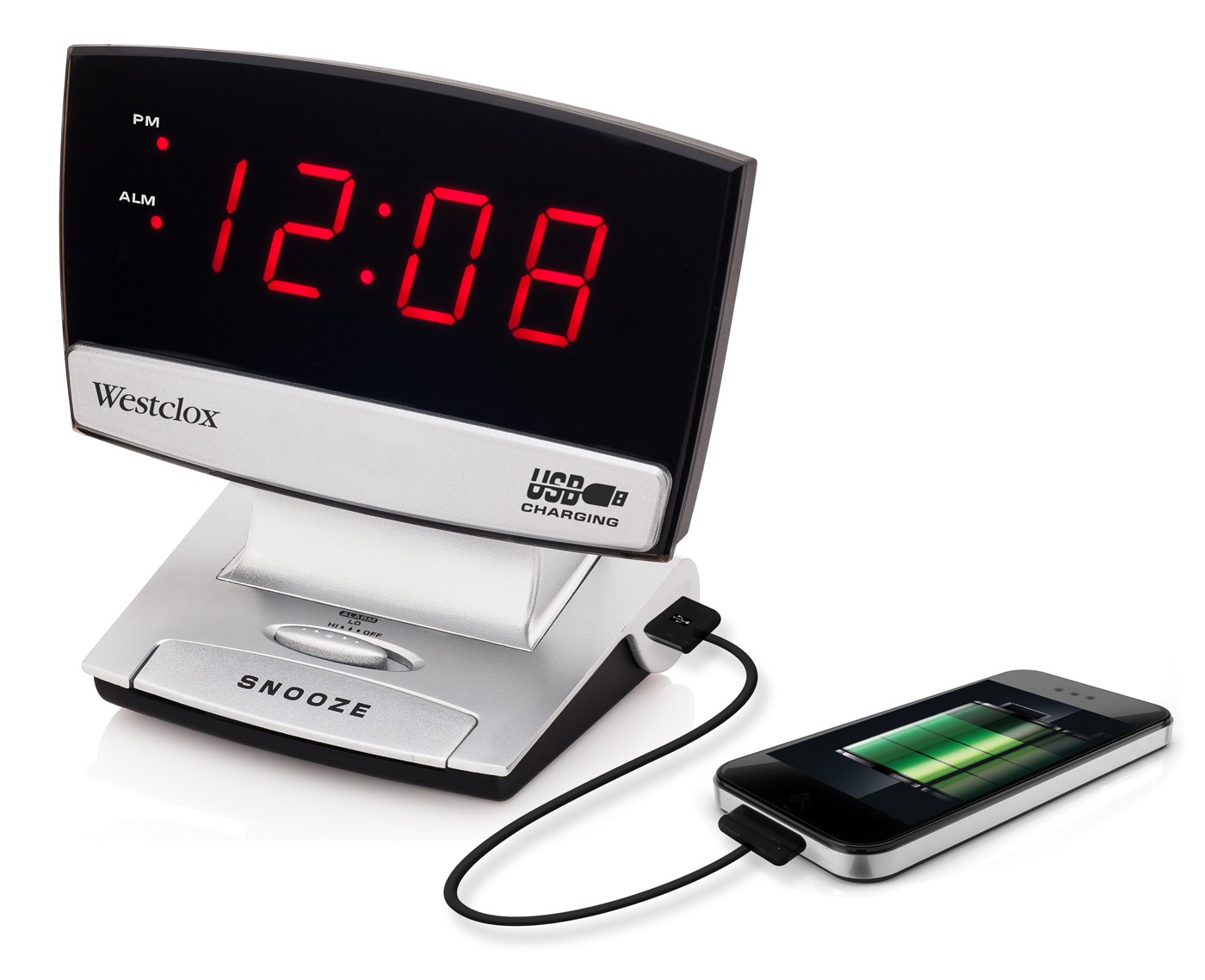 "Westclox 0.9"" LED Plasma Screen Alarm Clock with USB Charging Port 71014X 71014X"