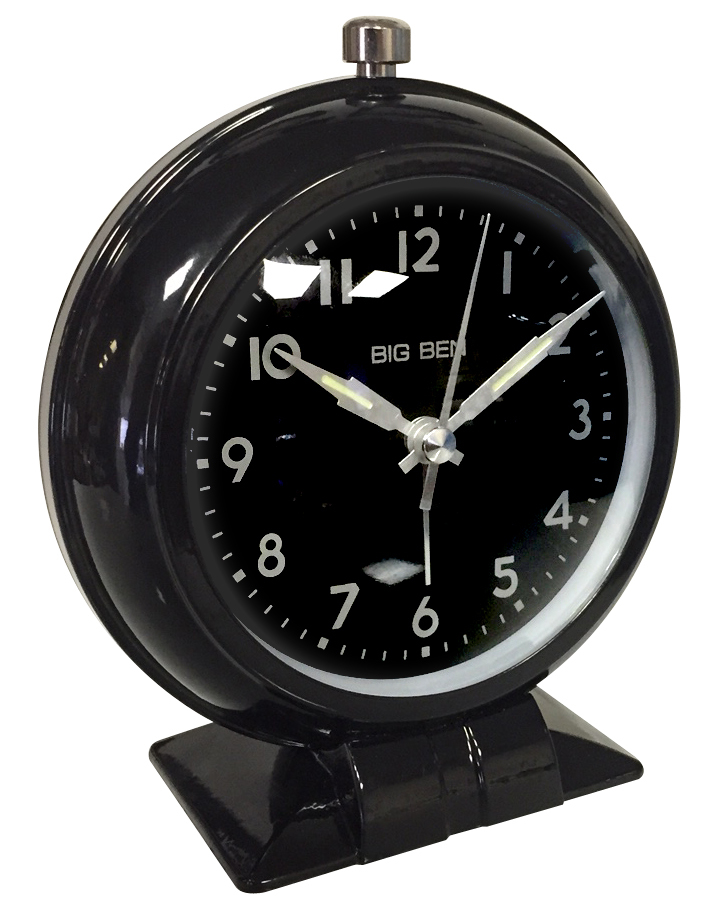 Big Ben Classic Silent Sweep Loud Bell Black Metal Case Alarm Clock 75044 75044BK