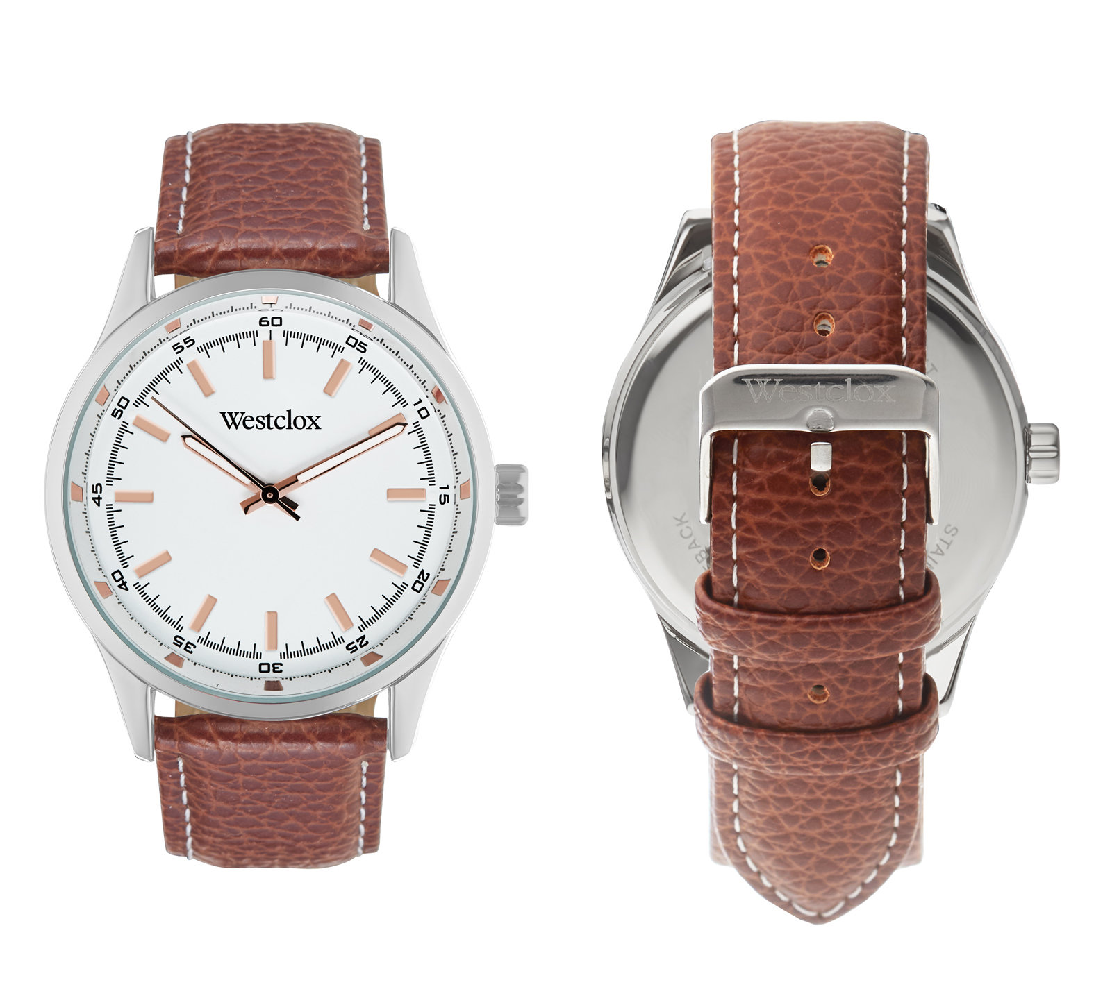 Westclox Watch with Genuine Brown Leather Band and Rose Gold Accents 51000