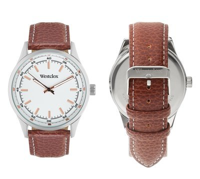 Westclox Watch with Genuine Brown Leather Band and Rose Gold Accents