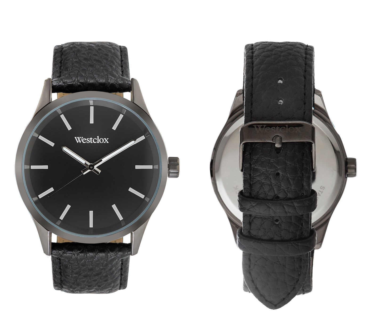 Westclox Watch with Genuine Black Leather Band and Black Dial 51001