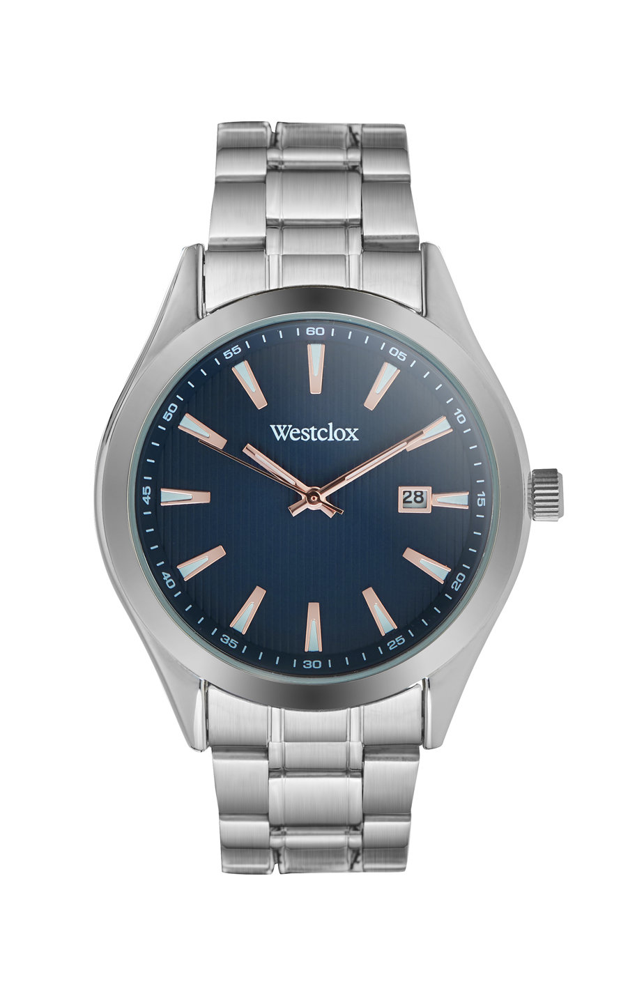 Westclox Watch with Silver Tone Metal Band, Date, and Blue Dial 51002