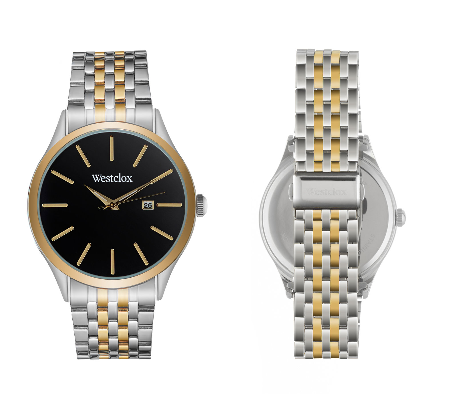 Westclox Watch with Two Tone Metal Band, Date, and Black Dial 51003
