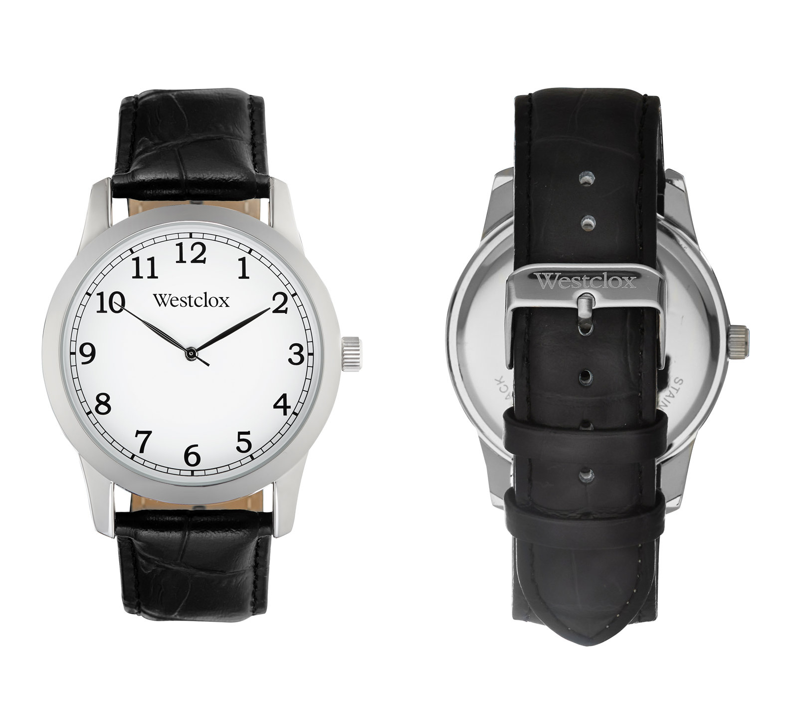 Westclox Watch with Genuine Black Leather Band and Easy to Read White Dial 51004