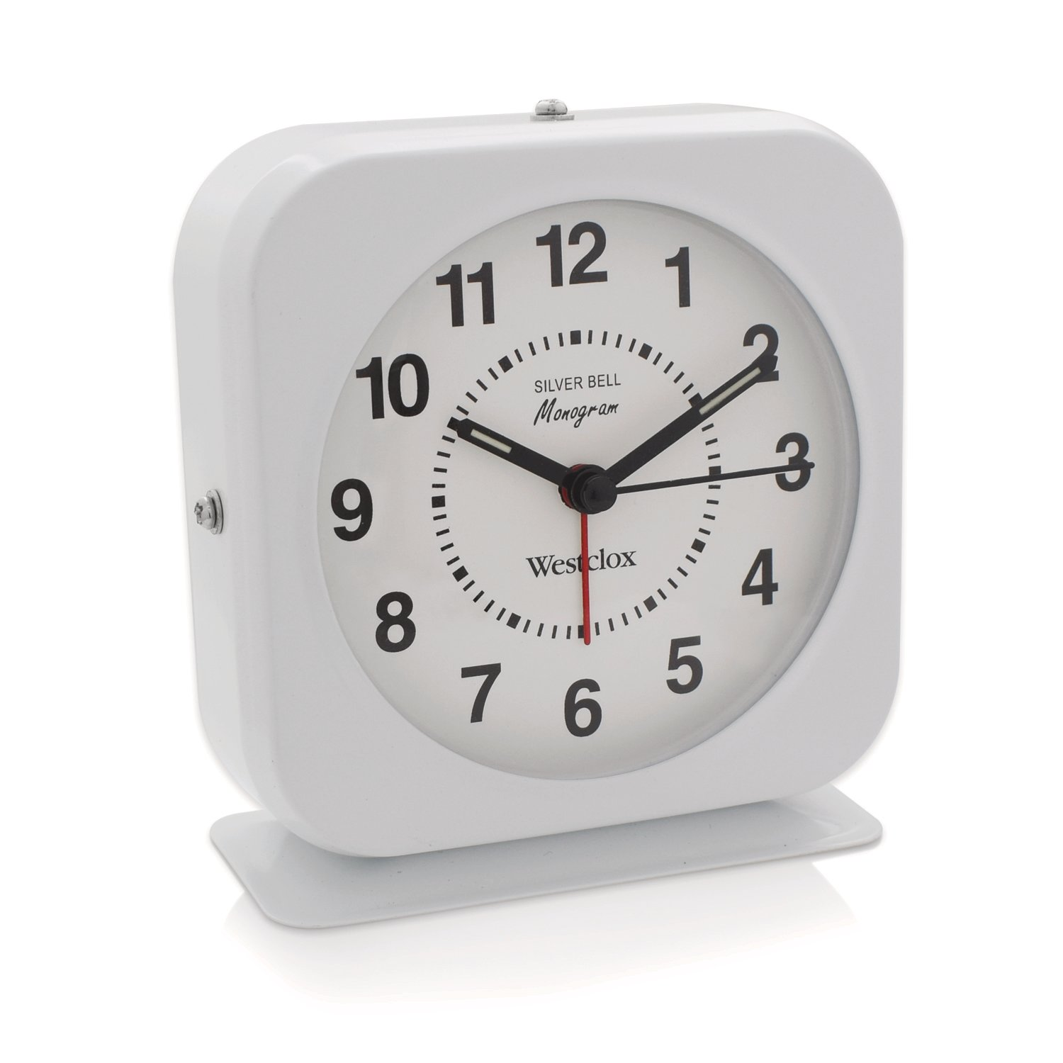 Westclox Square White Metal Quartz Analog Alarm Clock 15600QA