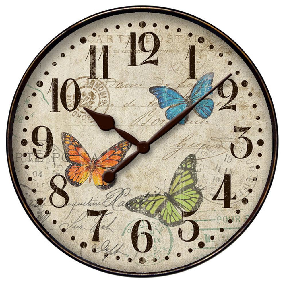 "12"" Butterfly Wall Clock 32897BF"