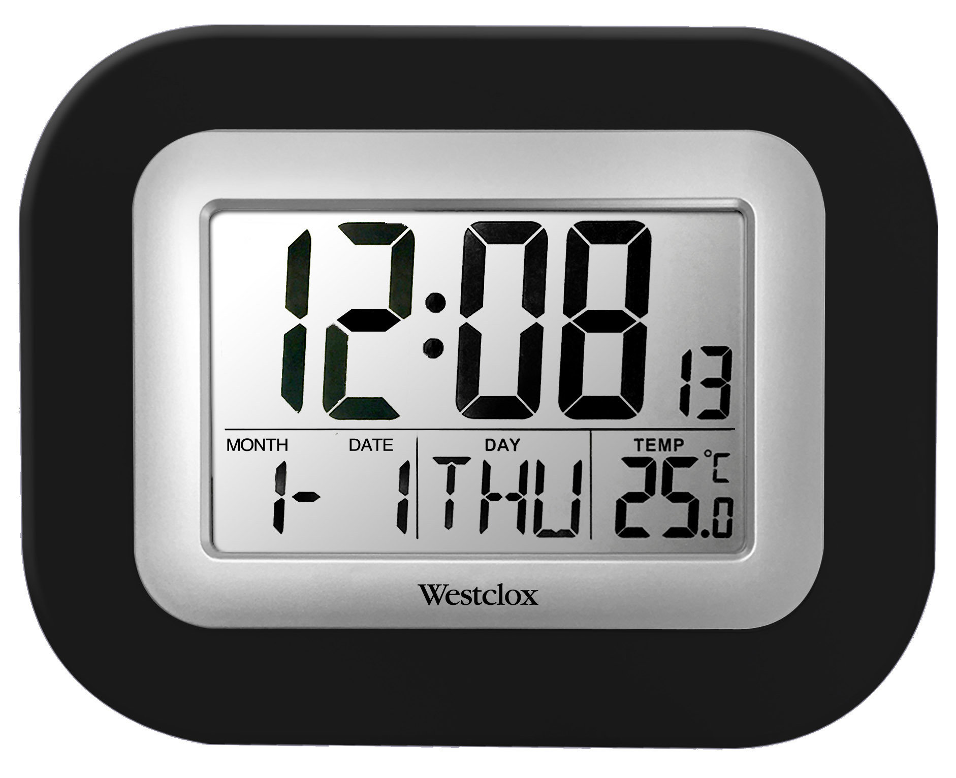 LCD Square Alarm Wall Clock 55006BK