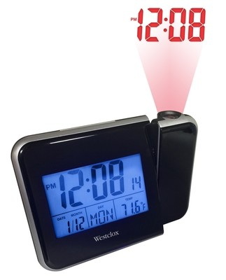 Westclox Projection LCD Digital Alarm Clock with Date and Indoor Temperature 72027