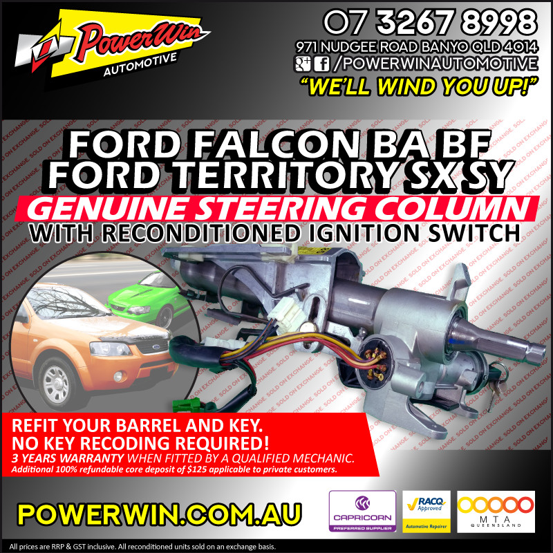 Genuine Ford Falcon BA - BF Steering Column with reconditioned Ignition Switch.