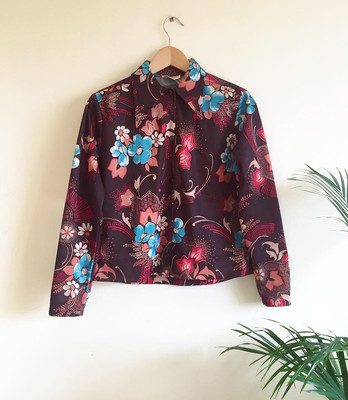 VINTAGE BROWN FLORAL PRINT SHIRT