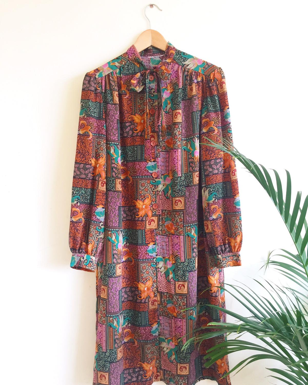 VINTAGE PUSSY-BOW TIE BOHEMIAN PRINT DRESS