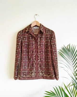VINTAGE 1970S BROWN WESTERN SHIRT