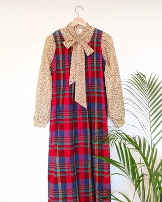 VINTAGE 1970S TARTAN DRESS