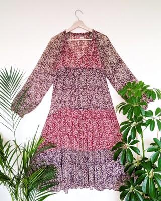 VINTAGE INDIAN GAUZE COTTON PAISLEY PHOOL DRESS