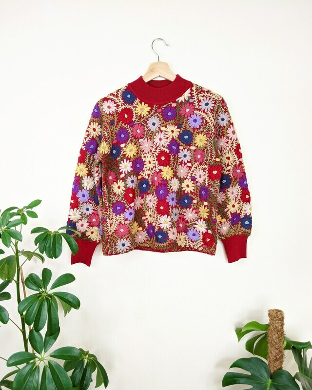 1950S HAND EMBROIDERED WOOL JUMPER