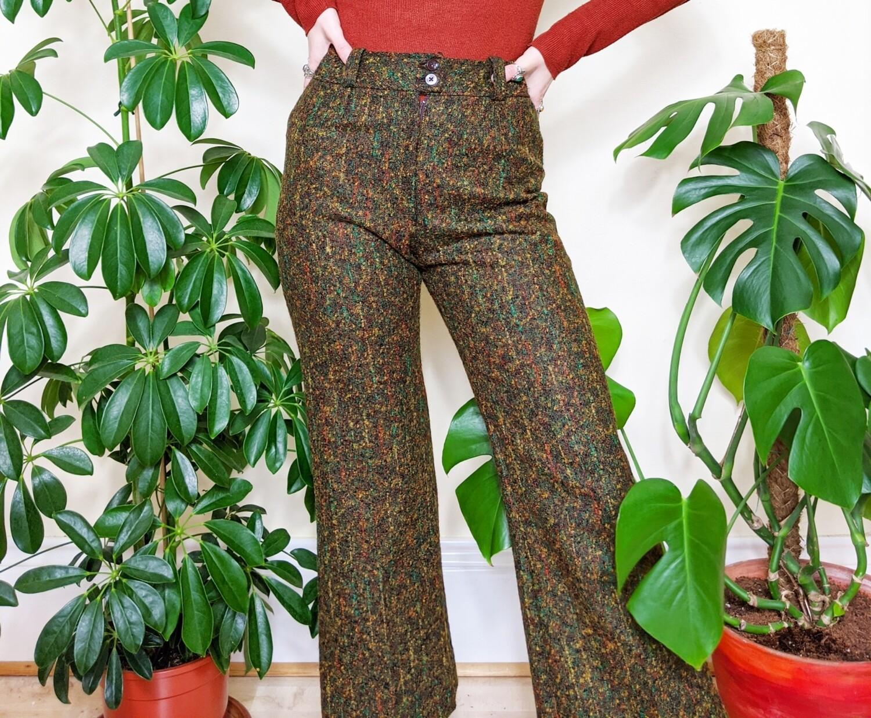 VINTAGE 70S GREEN WOOL FLARES
