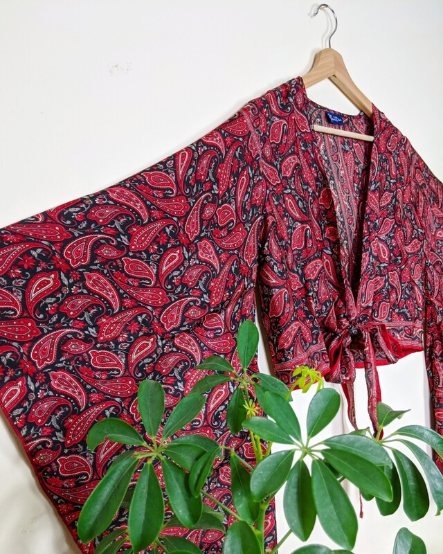 BLACK & RED INDIAN SILK BUTTERFLY WRAP TOP