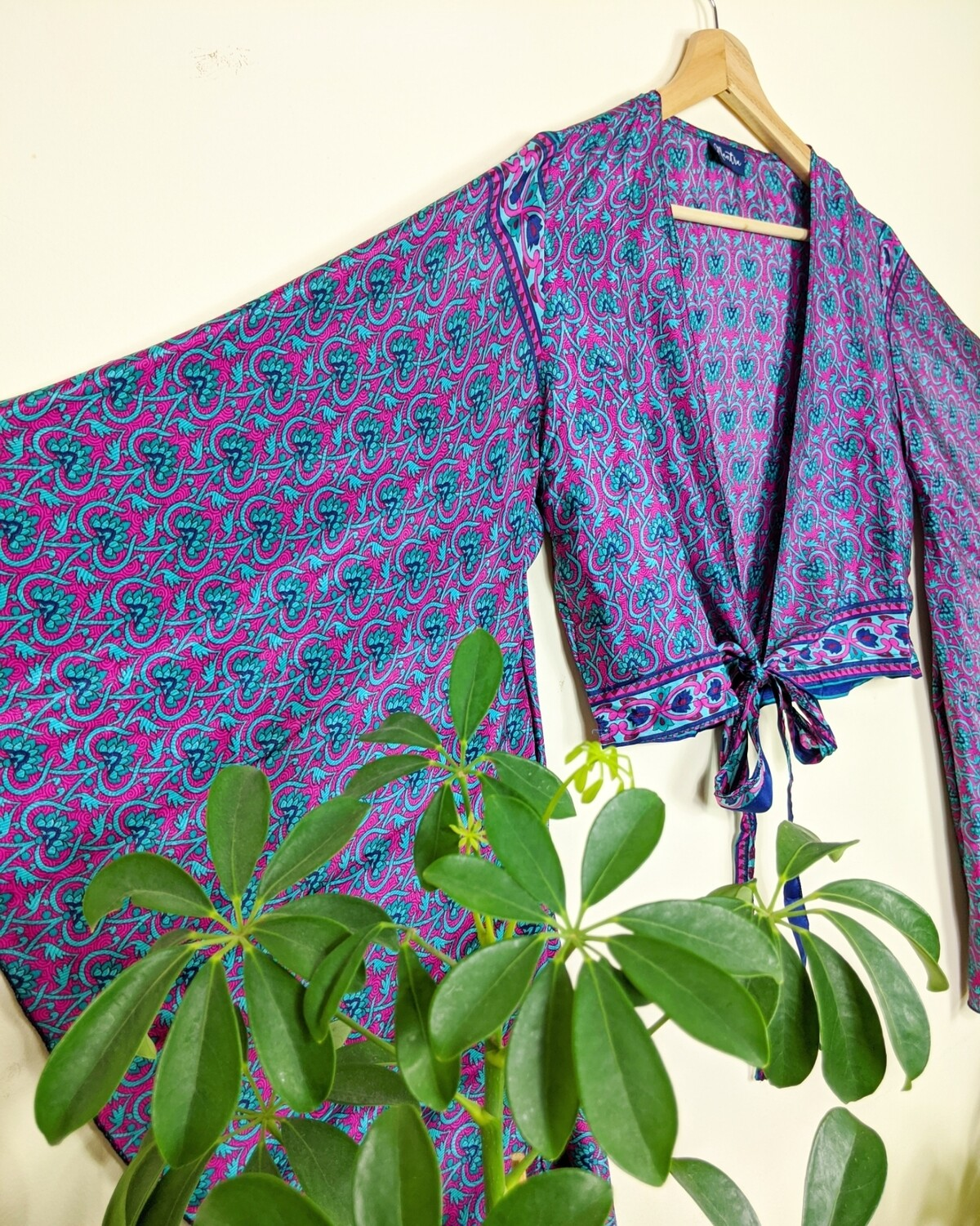 PURPLE & BLUE INDIAN SILK BUTTERFLY WRAP TOP