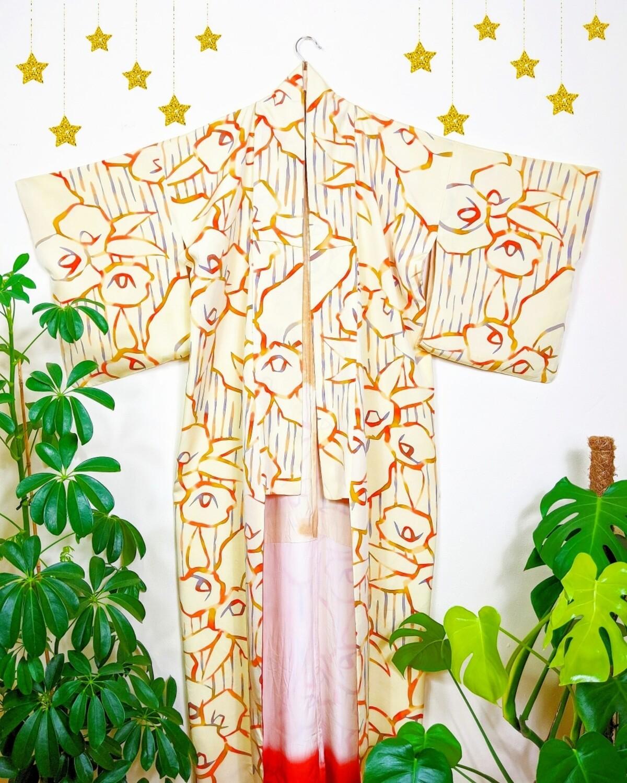 VINTAGE HANDMADE JAPANESE SILK KIMONO ROBE