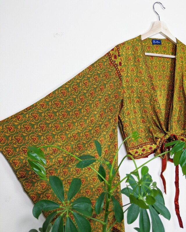 GOLD & GREEN INDIAN SILK BUTTERFLY WRAP TOP