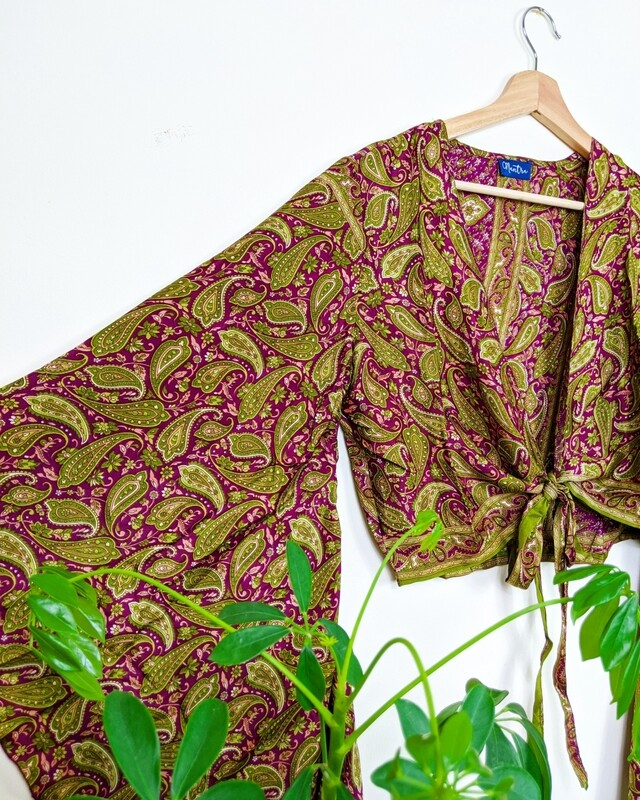 GREEN & PURPLE INDIAN SILK BUTTERFLY WRAP TOP