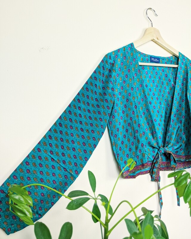 TURQUOISE BLUE LONG SLEEVE INDIAN SILK WRAP TOP
