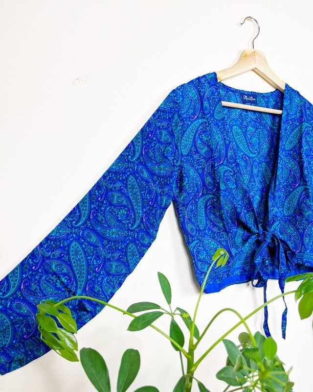 ROYAL BLUE LONG SLEEVE INDIAN SILK WRAP TOP