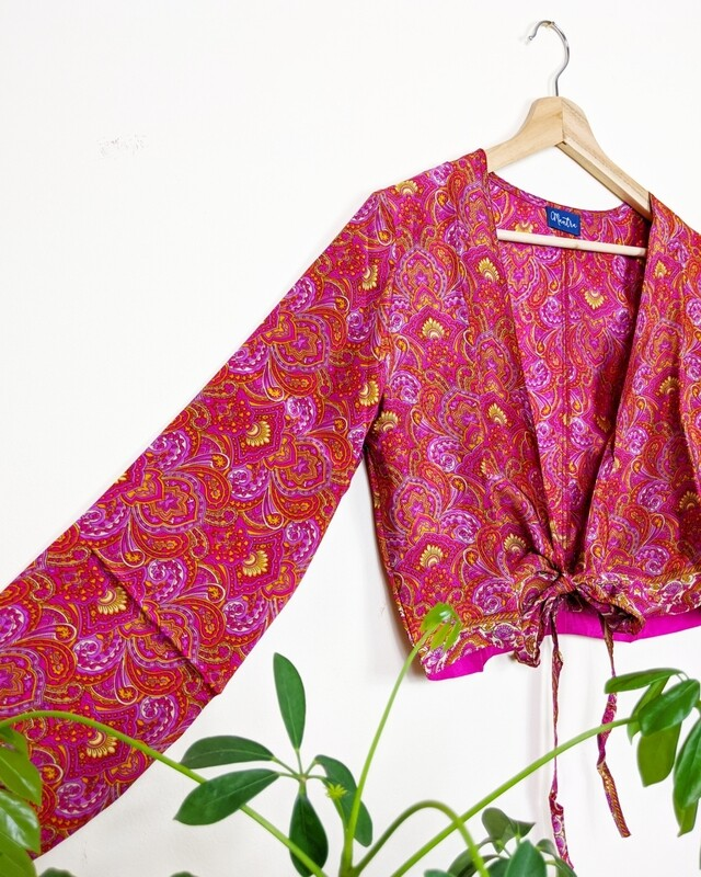 HOT PINK LONG SLEEVE INDIAN SILK WRAP TOP