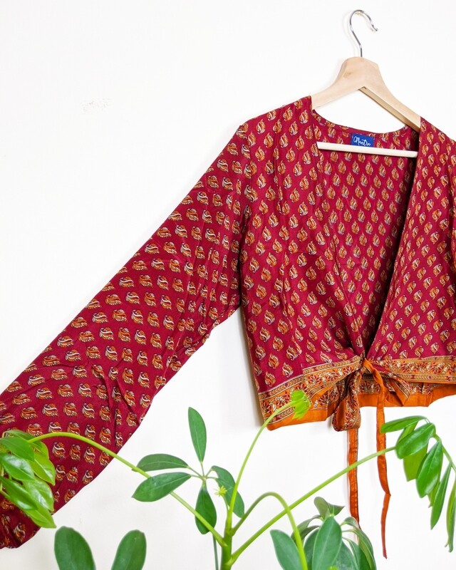RED LONG SLEEVE INDIAN SILK WRAP TOP