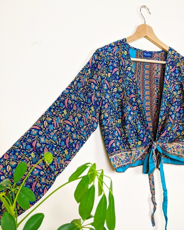 BLUE FLORAL LONG SLEEVE INDIAN SILK WRAP TOP