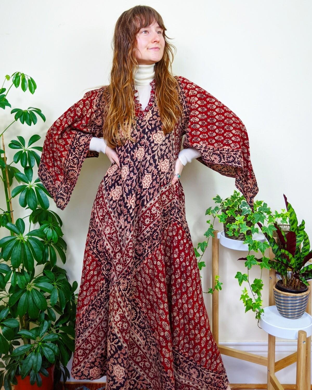 VINTAGE INDIAN BLOCK PRINT KAFTAN DRESS