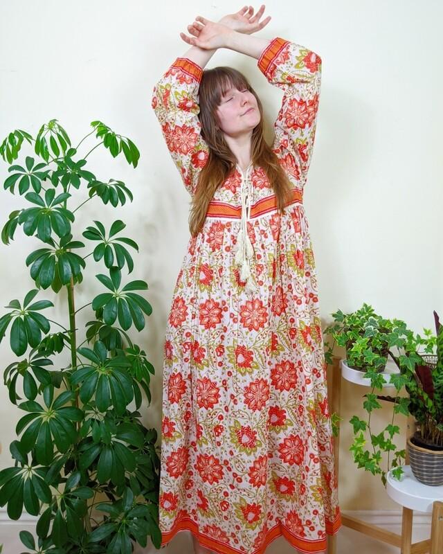 HANDMADE INDIAN COTTON BLOCK PRINT DRESS