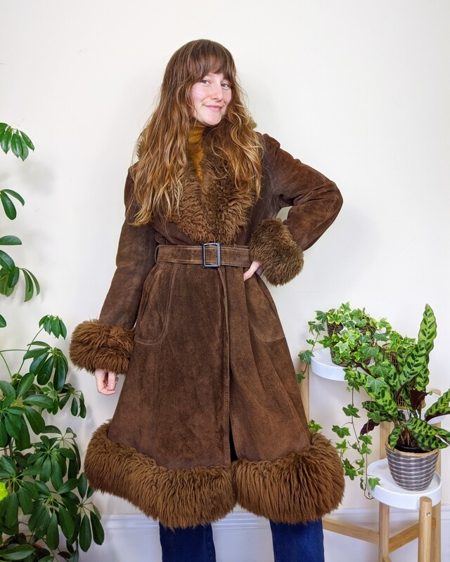 VINTAGE BROWN SUEDE SHEARLING FUR PENNY LANE COAT