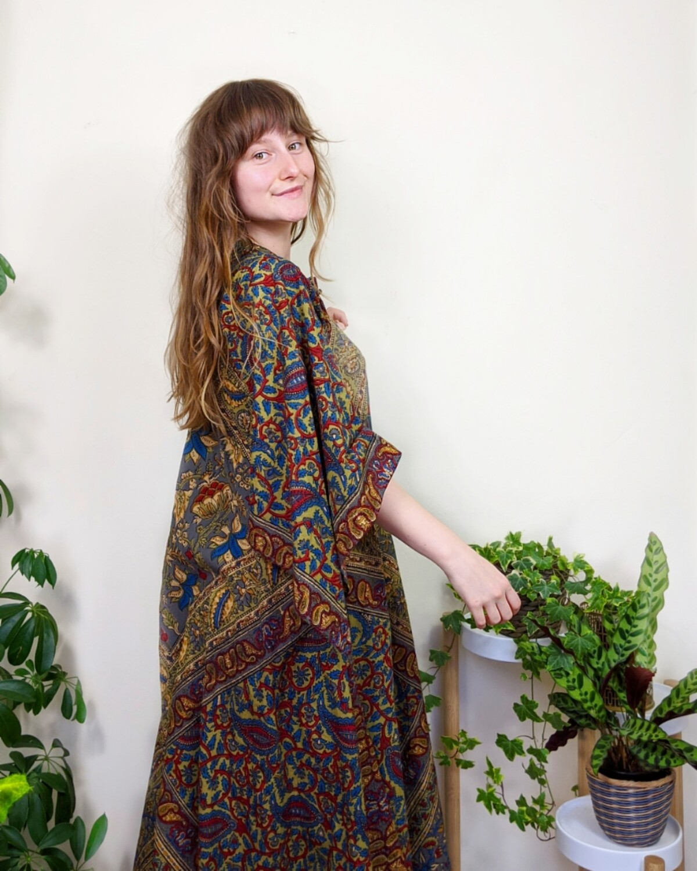 RARE VINTAGE INDIAN COTTON BLOCK PRINT PHOOL DRESS