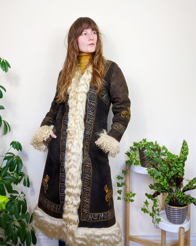 *RESERVED* VINTAGE 1960S EMBROIDERED BROWN SUEDE AFGHAN COAT