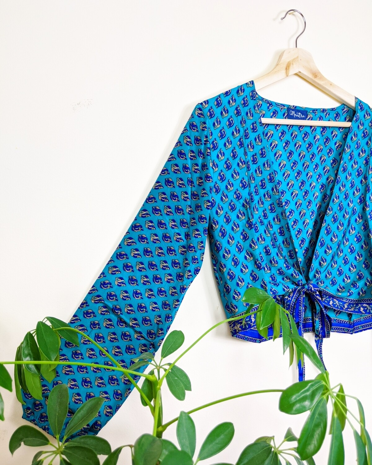 BLUE LONG SLEEVE INDIAN SILK WRAP TOP