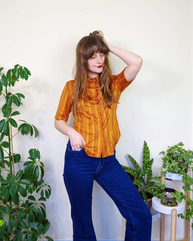 VINTAGE 1970S ORANGE SHORT SLEEVE SHIRT