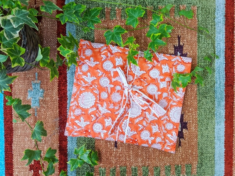 TANGERINE FLORAL PRINT INDIAN COTTON ROBE
