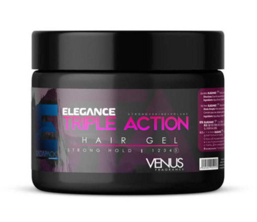 Triple Action Hair Gel Venus Fragrance (Strong Hold) - 250ml Elegance-Gel-Venus-Pink