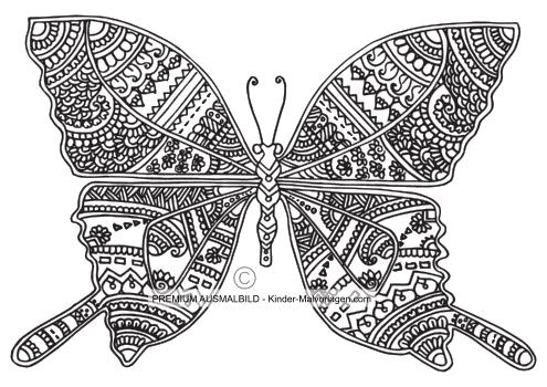 Schmetterling ausmalen für Erwachsene