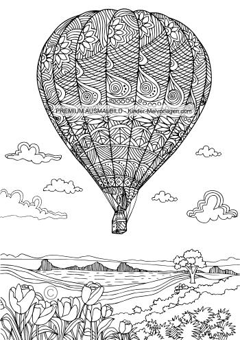 Heissluftballon Malvorlage für Erwachsene