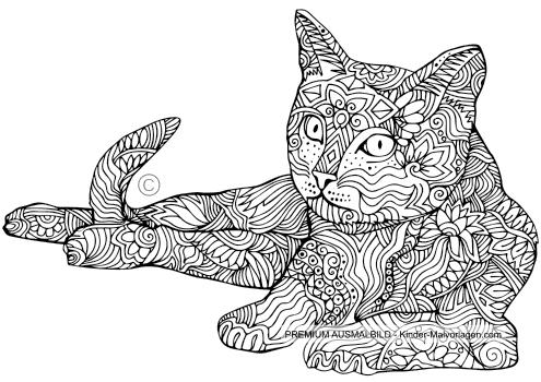 Katzen-Ausmalbild für Erwachsene