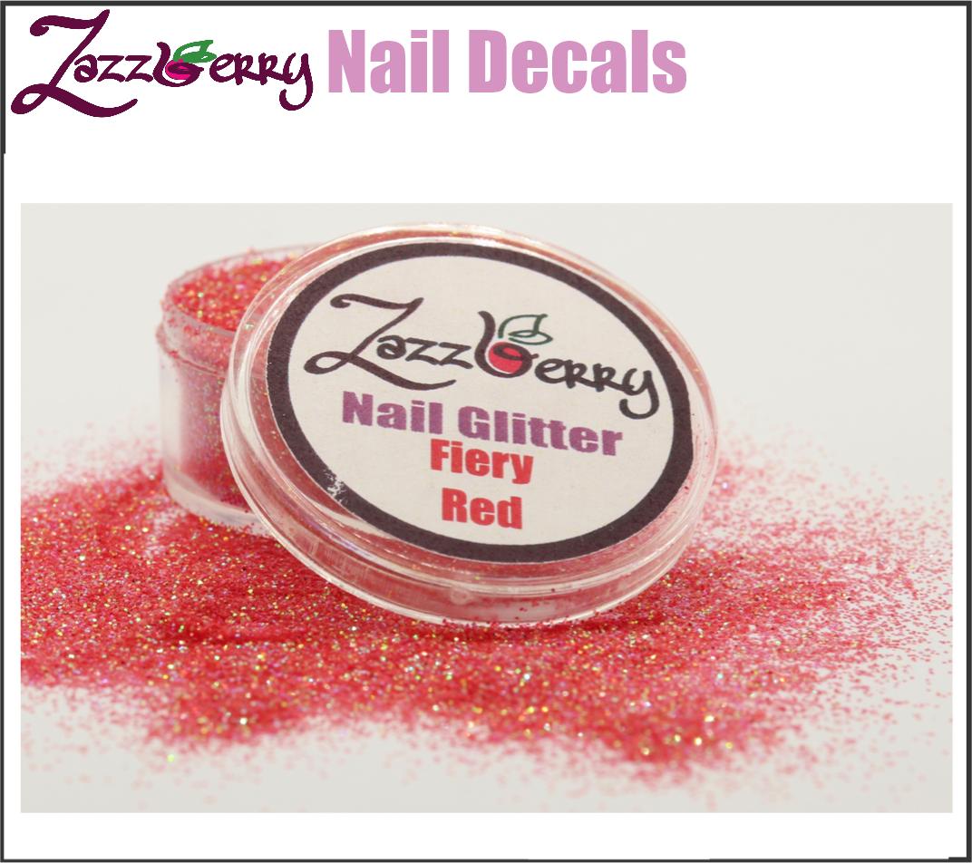 Fiery Red Nail Glitter