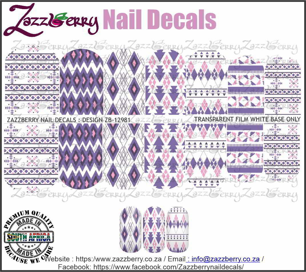 Aztec Purple Nail Decals