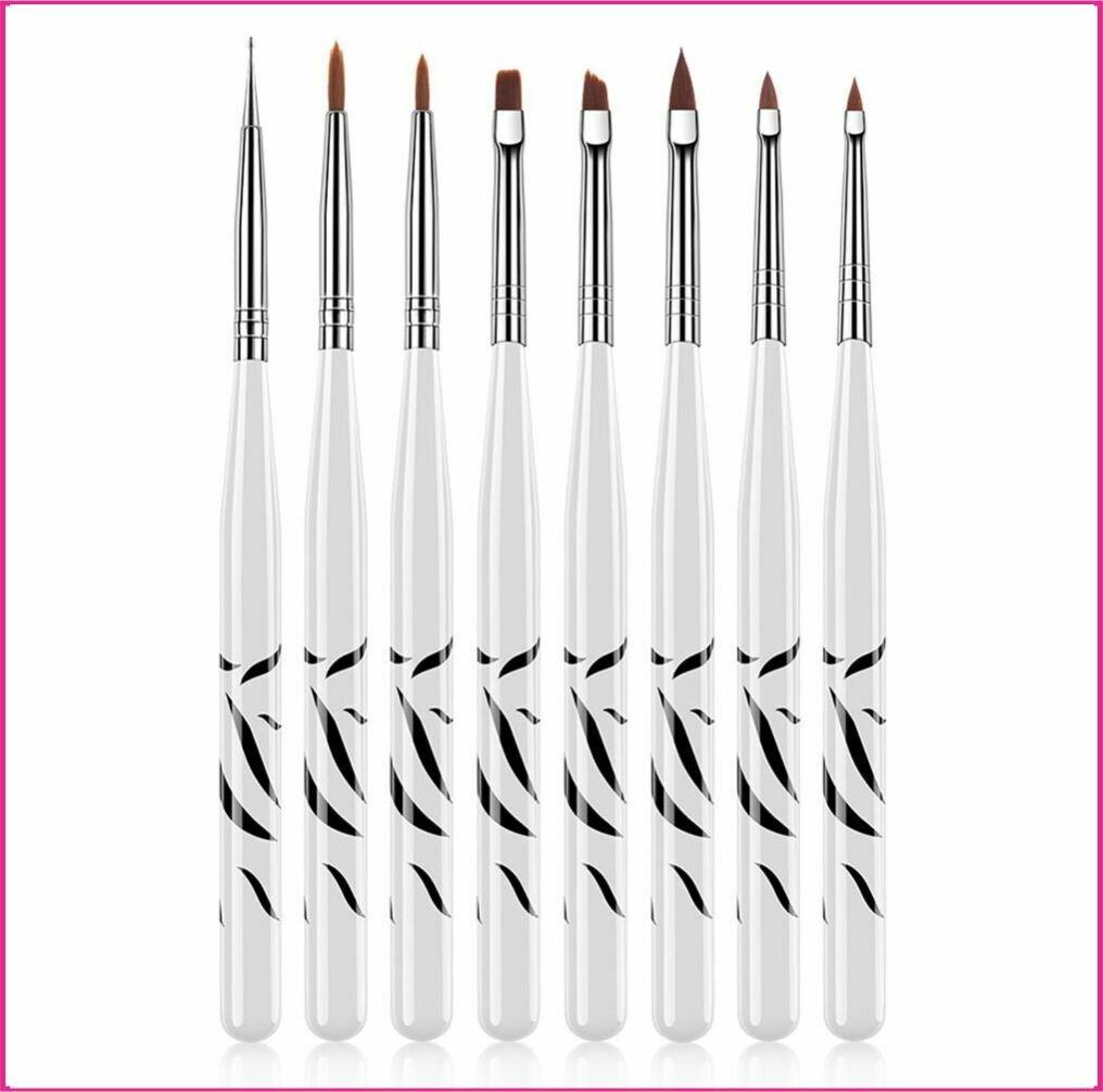 Gel Brush Set : 8pcs Zebra Brush Set